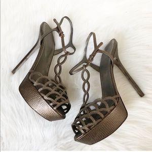 Sergio Rossi Tresor Leather Platform Sandals